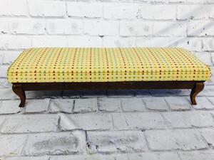 品番5155 ロングスツール ベンチソファ チェア イエロー ドット オットマン 椅子 アンティーク
