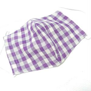 【送料込み】布マスク カバー オリジナルクリエイター作品 小さい紫チェック