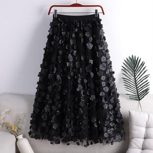 フラワーメッシュAラインスカート   1-338