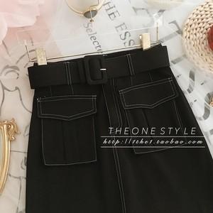 ベルト付きフロントポケットミニスカート