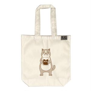 【トートバッグ】ネコおっさん ビール