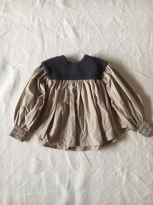 Lサイズ boa gather blouse col.チャコールboa×ベージュ