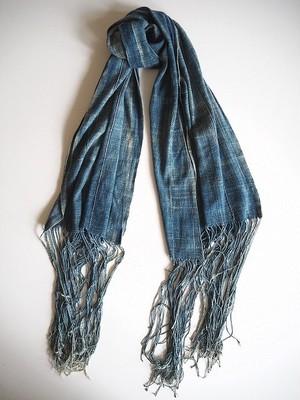 【西アフリカ】 天然藍染の古布ショール-B