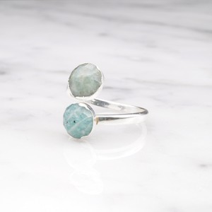 DOUBLE STONE OPEN RING SILVER 029