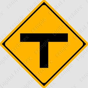 【イラスト】T形道路交差点ありの 交通標識
