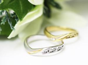 紫式部の透かし文様の結婚指輪透かし文様の結婚指輪