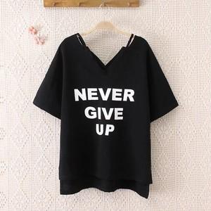 【tops】最適なデザインしゃれど満々vネックアルファベット3色Tシャツ