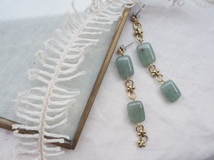 gemstone chain long pierce/earrings