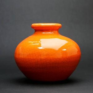 昭和レトロ 陶器 花瓶 柿色 (332)