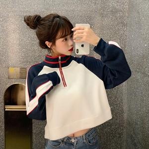 【トップス】 配色スタンドネックプルオーバーTシャツ26677208