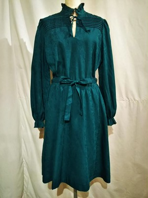 Vintage frill&ribbon collar dress /Made In West Germany [O-386]