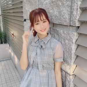 【溝口咲良さん着用モデル】ドレス調ステッチメッシュワンピース