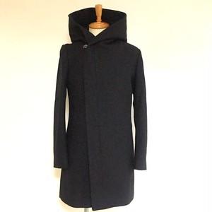 Melton Wool Wrap-Hooded Coat Black