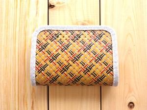 竹と麻の財布・小 四つ目編み漆仕上げ・チェック柄【受注生産】