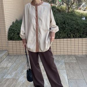 piping bandcollar blouse【orange】