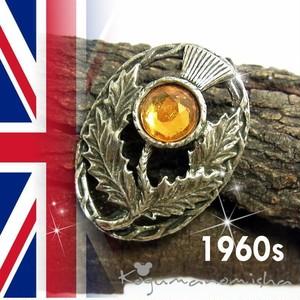 英国 ヴィンテージ★琥珀 ラインストーン あざみ オープンワーク スコティッシュ ブローチ 1960s