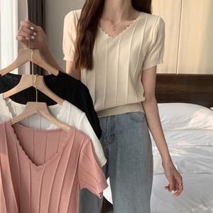 【トップス】女性大人気 4色 Vネック 無地 シンプル 半袖 ニット Tシャツ44509732