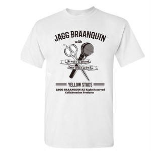 JAGG BRAANQUIN × Yellow Studs コラボTシャツ(ハサミ&マイク) 白