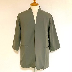 3/4 Sleeve Collar-less Jacket Khaki Gray