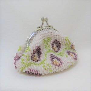 ビーズがま口(半透明に紫色の花)