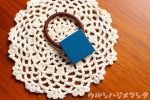 漆のヘアゴム【青】(四角・大) / Square-shaped hair elastic in blue URUSHI[L]