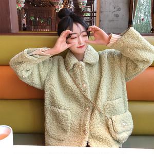 【アウター】韓国風新作学生ゆったりフェイクラムウールコート