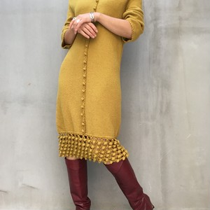 60's Mimosa color knit dress