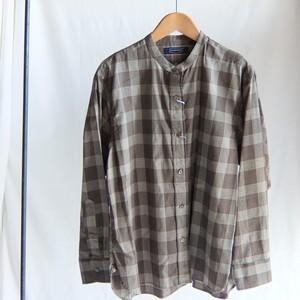 HAND ROOM WOMEN'S - バンドカラーシャツ - Brown Glen Check