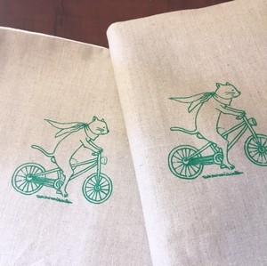 【ブックカバー】B5サイズ(横書き書籍用)/柄:自転車猫のプラハ