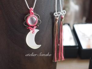 天然石マクラメ編みネックレス~魔法の鏡~
