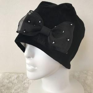 小花チュールのケア帽子 春ベロア黒
