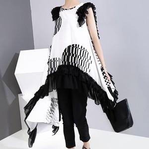 アシンメトリー トップス Tシャツ ノースリーブ 韓国ファッション レディース チュニック 不規則デザイン ルーズ 大人カジュアル 大人可愛い ガーリー 622441445554