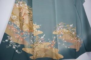 美品 三松謹製 金駒刺繍 友禅 色留袖 正絹 三つ紋 金彩 深川鼠色 170