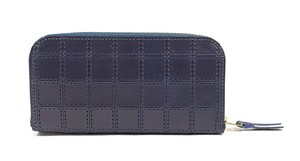RE.ACT Stitch Indigo Round Fastener Long Wallet