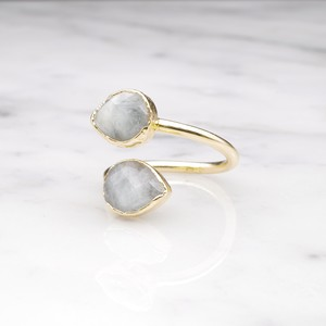 DOUBLE STONE OPEN RING GOLD 050