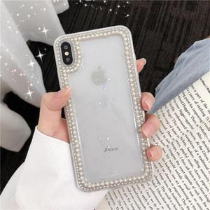 【送料無料】キラキラ ラインストーン パール ビジューiPhoneXケース  iPhone 6/6S 6P/6SP 7/8 7/8P X XSMAX おしゃれ i1196