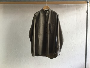 """WHOWHAT"""" WIDE SHIRT STAND COLLAR BROWN"""""""