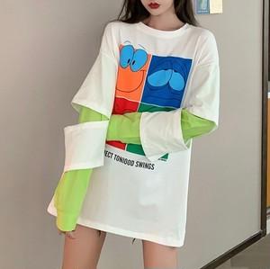 ファッション切り替えカートゥーン配色長袖Tシャツ<ins-1733>