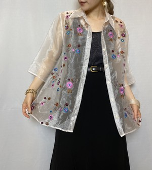 flowered pattern embroidery sheer shirt