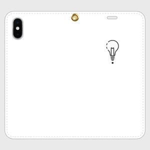 【X,8,7】ロゴiPhoneケース手帳型白