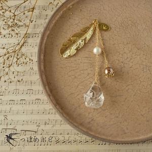 天然石とパールの帯飾り《水晶/F》