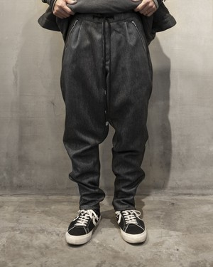T/f polyester twill baggy tapered pants - combined black