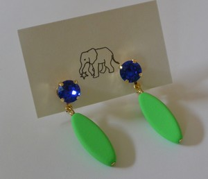 トンボの羽の耳飾り ネオングリーン