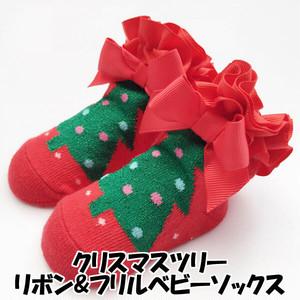 クリスマス ツリー リボン フリル ベビー ソックス 女の子 靴下 sox19084