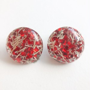 red & silver confetti earring[e-1189]