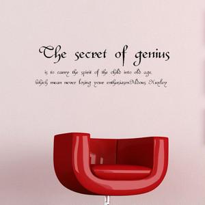 オルダス・ハクスリーの英字ステッカー 天才の秘密は、子供の魂を