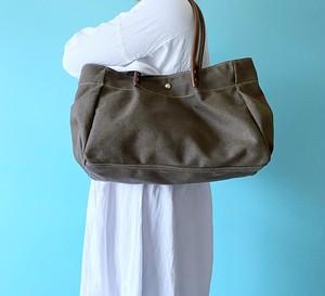 横マチふわっ トートバッグ A4 サイズ 帆布 モカ & 本革 ブラウン