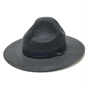 Vintage Stratton Straw Four Dent Style Hat Dark Gray 7 1/8