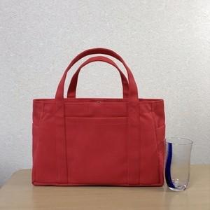 「ポケットトート」横長サイズ「赤」帆布トートバッグ 倉敷帆布8号