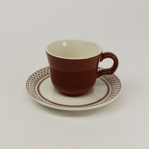 【SET-0003】カップ&ソーサー 磁器・赤茶